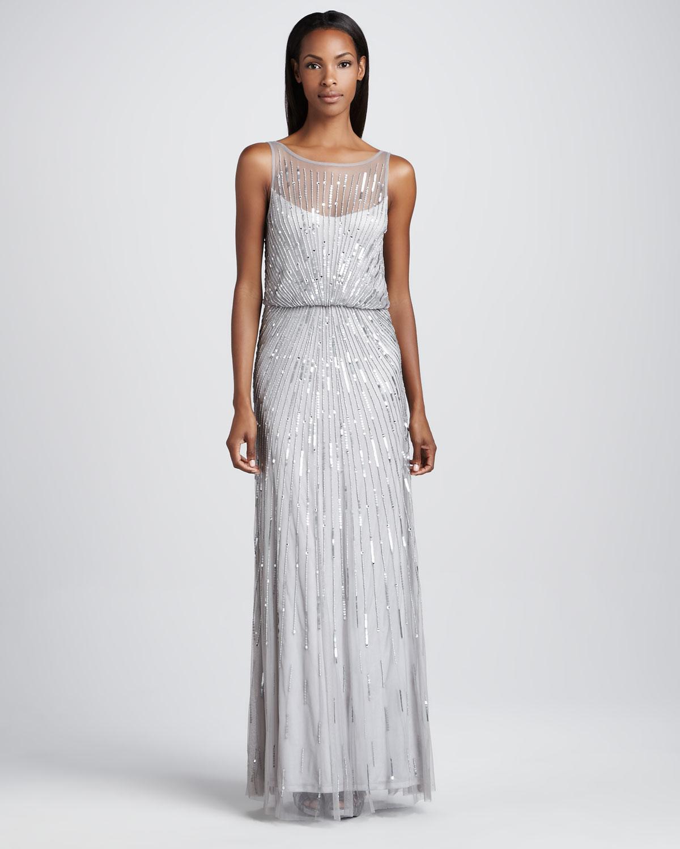 Lyst - Aidan Mattox Beaded Illusionneck Gown in Metallic