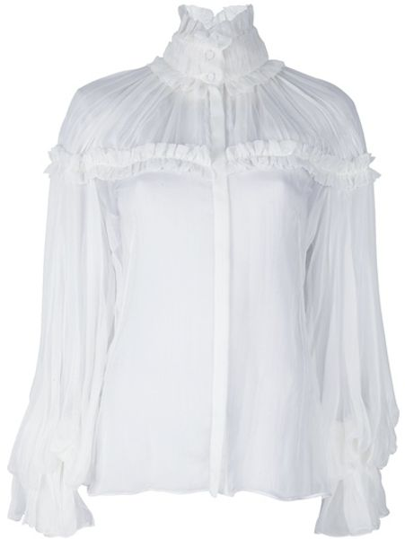 Alexander Mcqueen Seethrough Blouse in White - Lyst