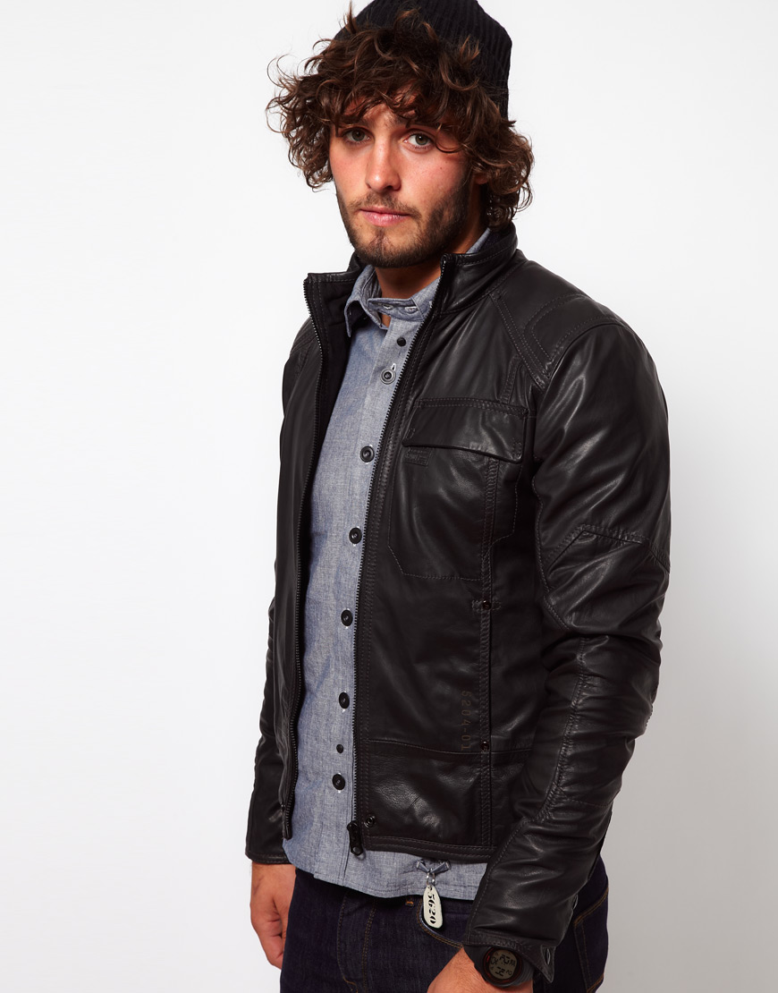 g star raw leather jacket in black for men lyst