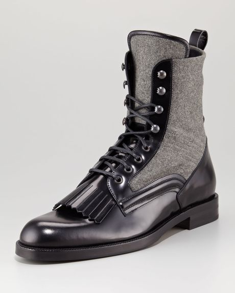 jimmy choo chesham leatherflannel roper boot in gray for