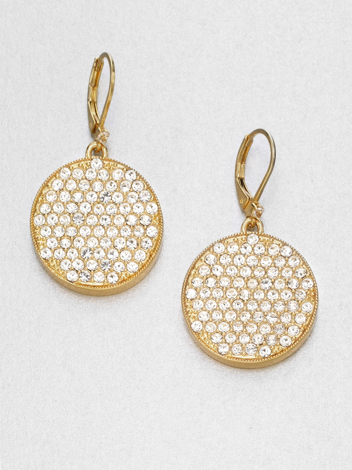 14k Rose Gold Pave Set Diamond Disk Source Lyst Kate Spade New York Pav Disc Drop Earrings In Metallic
