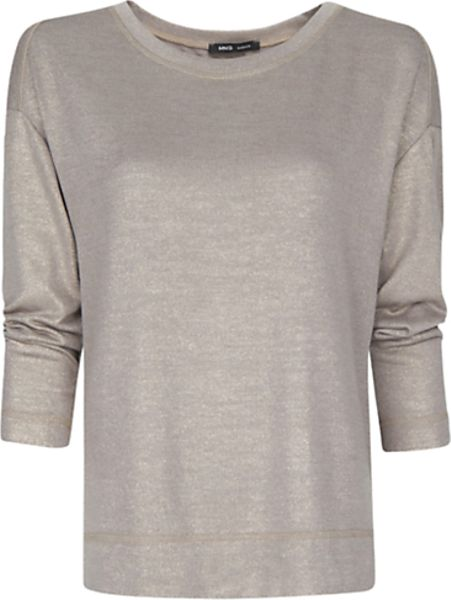 Mango Mango Metallic Effect Tshirt Stone in Gray
