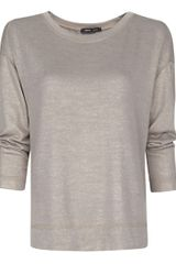 Mango Mango Metallic Effect Tshirt Stone in Gray - Lyst