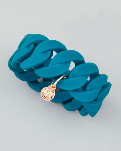 Marc By Marc Jacobs Wide Rubber Katie Turnlock Bracelet  in Blue (teal) - Lyst