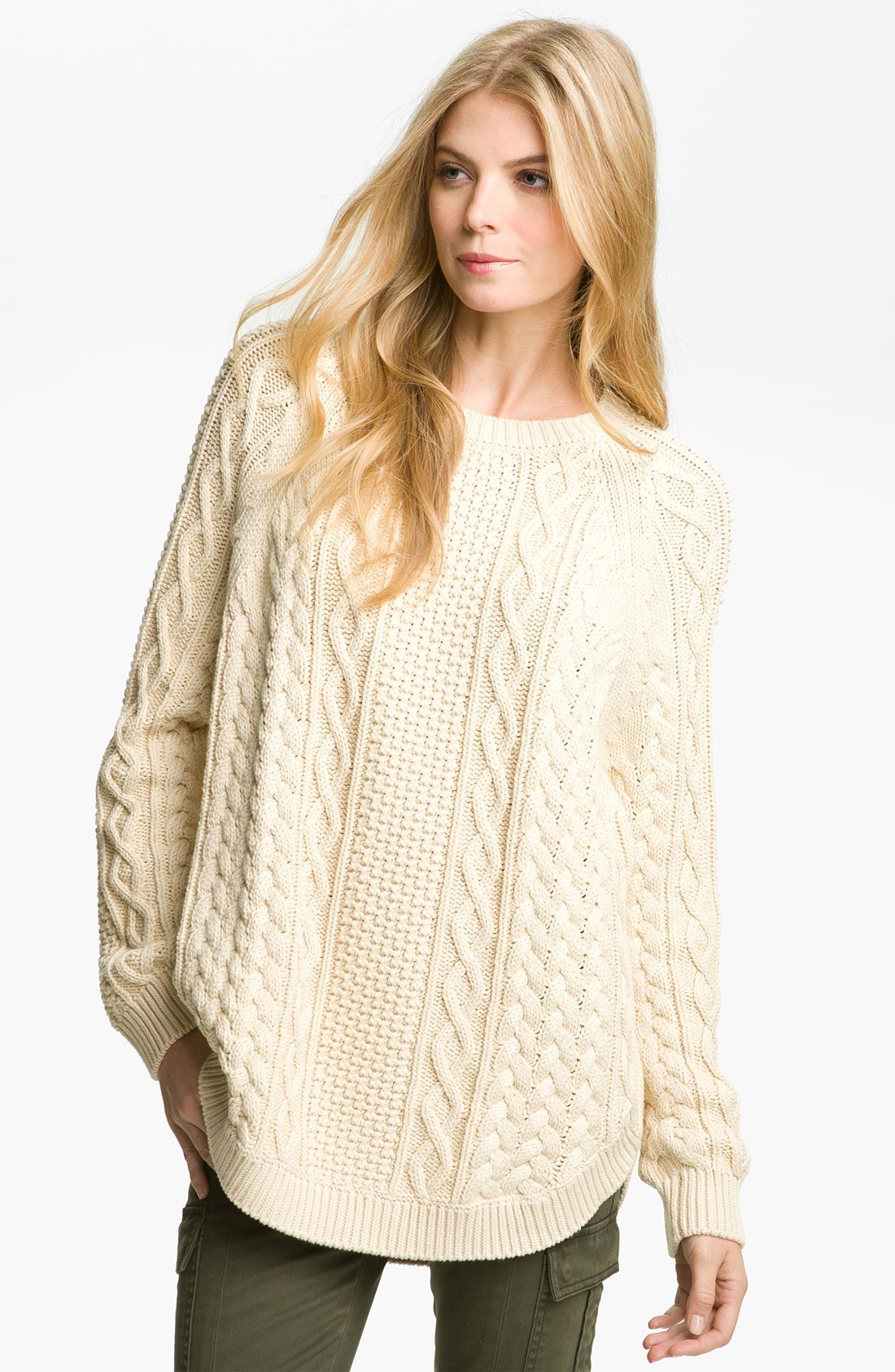 Michael michael kors Fisherman Cable Knit Sweater in Natural | Lyst