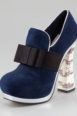 Miu Miu Metallictrim Loafer Pump in Blue (oltremare) - Lyst