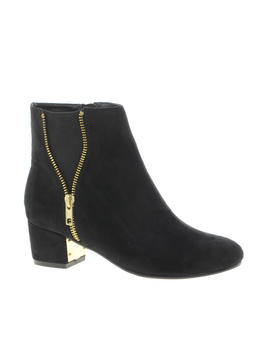 river island zip side ankle boots in black lyst