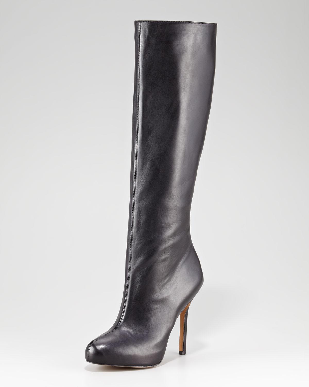 sam edelman empire leather boot black in black lyst