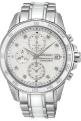 Seiko Womens Chronograph Sportura Diamond Accent White Ceramic and Stainless Steel Bracelet 38mm Sndx95 - Lyst