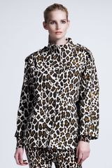 Stella McCartney Womens Leopardprint Linen Cocoon Coat - Lyst