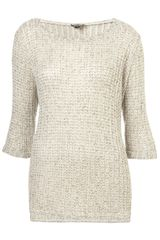 Topshop Knitted Open Stitch Jumper - Lyst