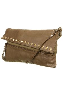 Topshop Studded Leather Clutch Bag - Lyst