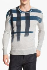 Burberry Brit Check Sweater in Gray for Men (pale grey melange) - Lyst