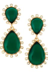 Kenneth Jay Lane Rhinestone Dangle Clipon Earrings in Green (null) - Lyst