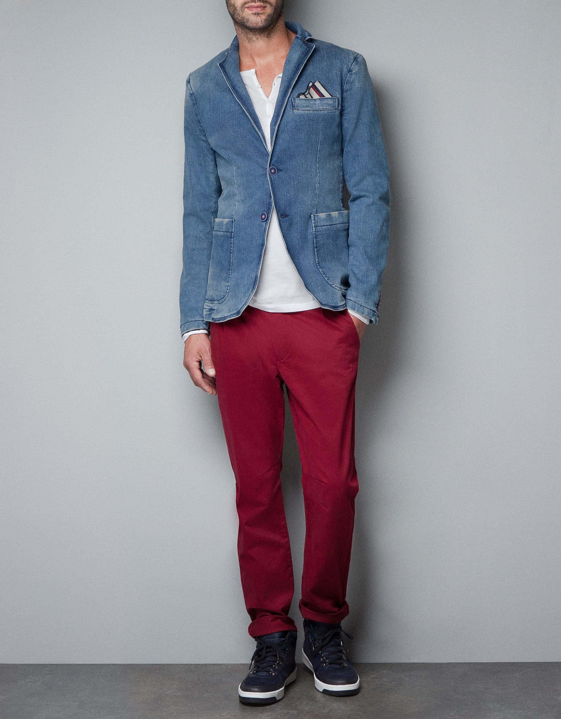 Zara Faded Denim Blazer in Blue for Men | Lyst
