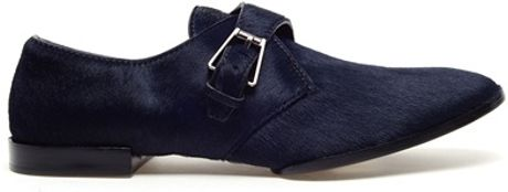 Alexander Wang Ruby Monk Calf Hair Oxford Shoes in Blue (dark green)