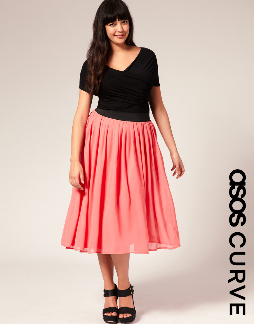 asos curve chiffon midi skirt in pink lyst