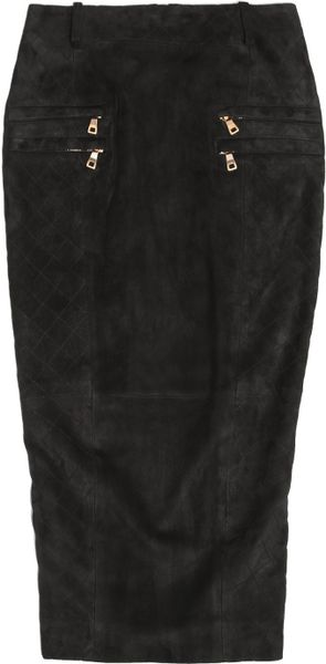 Balmain Suede Midi Skirt in Black - Lyst