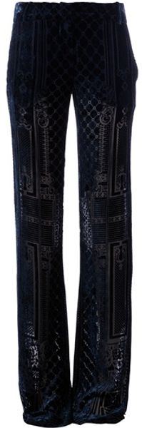 Balmain Brocade Wide Leg Trouser in Blue - Lyst