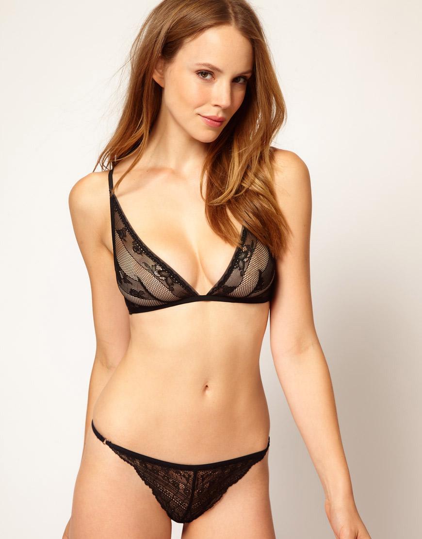 09a2827805 Lyst - Calvin Klein Envy Lace Triangle Bra in Black