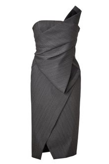 Donna Karan New York Anthracite Structured Origami Bustier Dress - Lyst