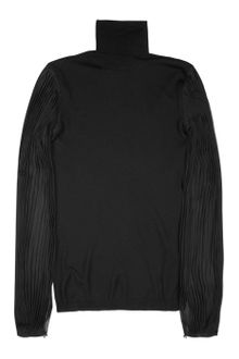 Emilio Pucci Chiffon Sleeved Fine Knit Wool Sweater - Lyst