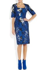 Erdem Sophia Embroidered Satin Twill and Lace Dress in Blue - Lyst