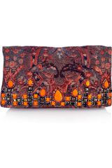 Matthew Williamson Embellished Brocade and Suede Clutch - Lyst