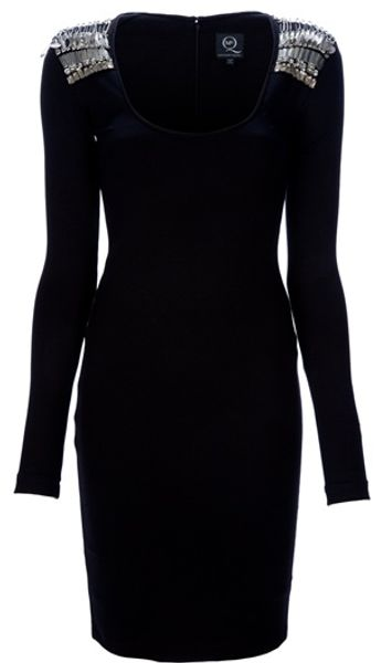 Mcq By Alexander Mcqueen Beaded Shoulder Dress in Black - Lyst