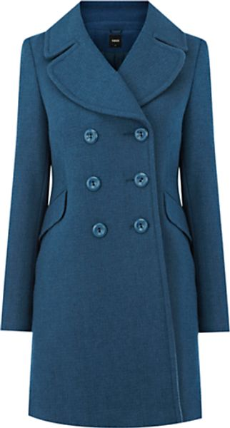 Oasis Oasis Double Breasted Reefer Coat Indigo - Lyst
