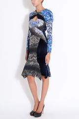 Peter Pilotto Cutout Paneled Dress in Blue - Lyst