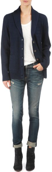 Rag & Bone Isabelle Pincher Cardigan in Blue (navy) - Lyst