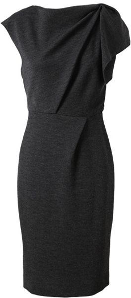 Roksanda Ilincic Stretch Wool Dress with Ruched Shoulder - Lyst
