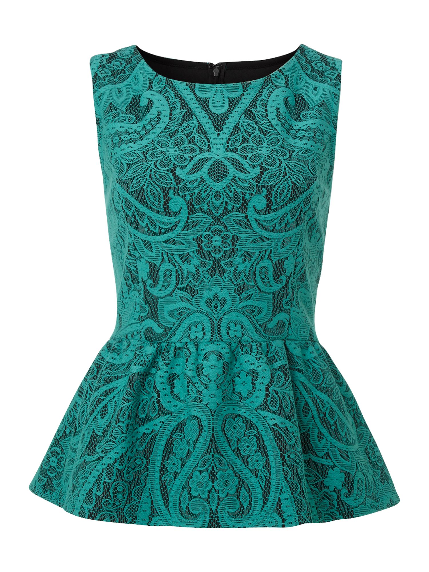 Therapy Bonded Lace Peplum Top in Blue (green) | Lyst