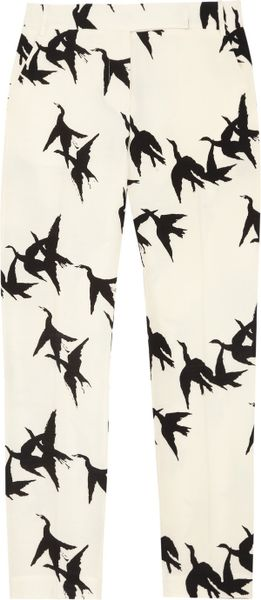 Tibi Paloma Printed Cropped StraightLeg Pants in White (ivory) - Lyst