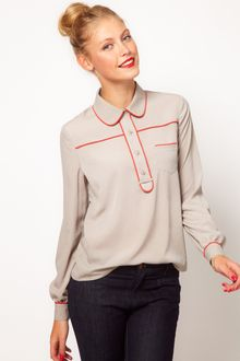 ASOS Collection Asos Blouse with Contrast Piping - Lyst