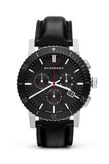 Burberry Black Leather Strap and Ceramic Watch 42mm - Lyst