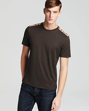 bb76091e7cf3 Lyst - Burberry Check Shoulder Tee in Green for Men