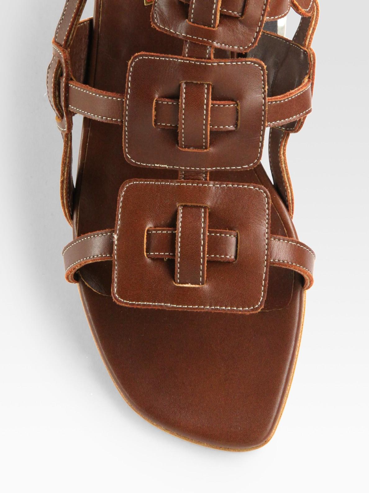 Lyst Christian Louboutin Rose Du Desert Leather Sandals