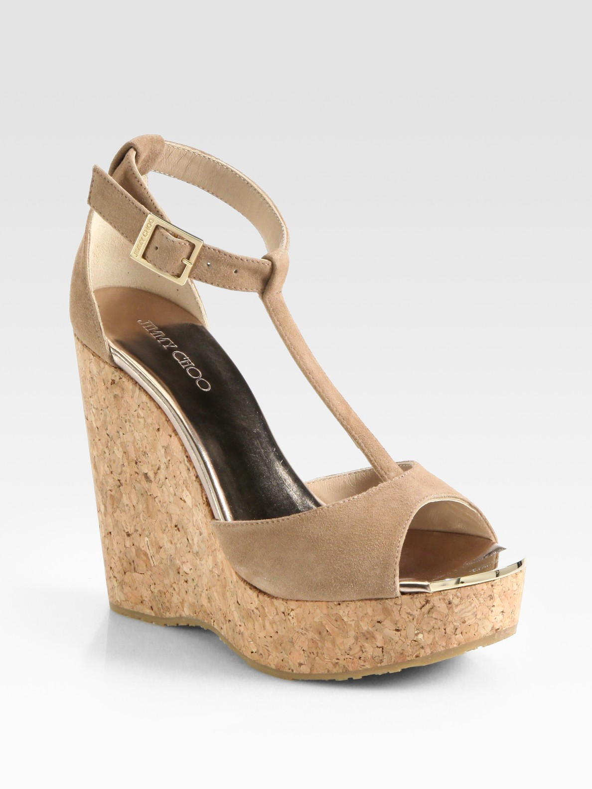 ada8d197a3c69 ... buy lyst jimmy choo pela suede tstrap cork wedge sandals in natural  1d8ef 8c8ef