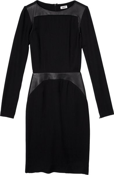 L Agence Leather Panelled Long Sleeve Crepe Dress In Black