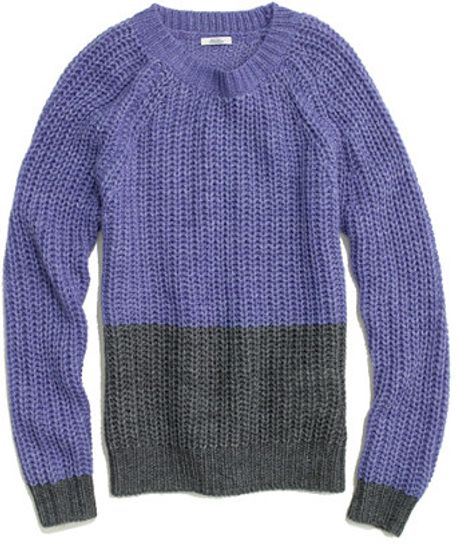 Madewell Colorblock Bookmark Sweater in Purple (vibrant violet)