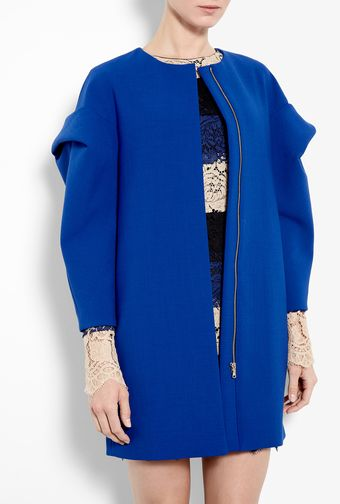 MSGM Blue Stretch Wool Coat - Lyst