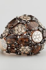 Roberto Coin Shanghai Diamond Smoky Quartz Ring - Lyst
