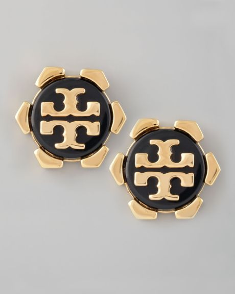 Tory Burch Walter Logo Stud Earrings Black in Black - Lyst