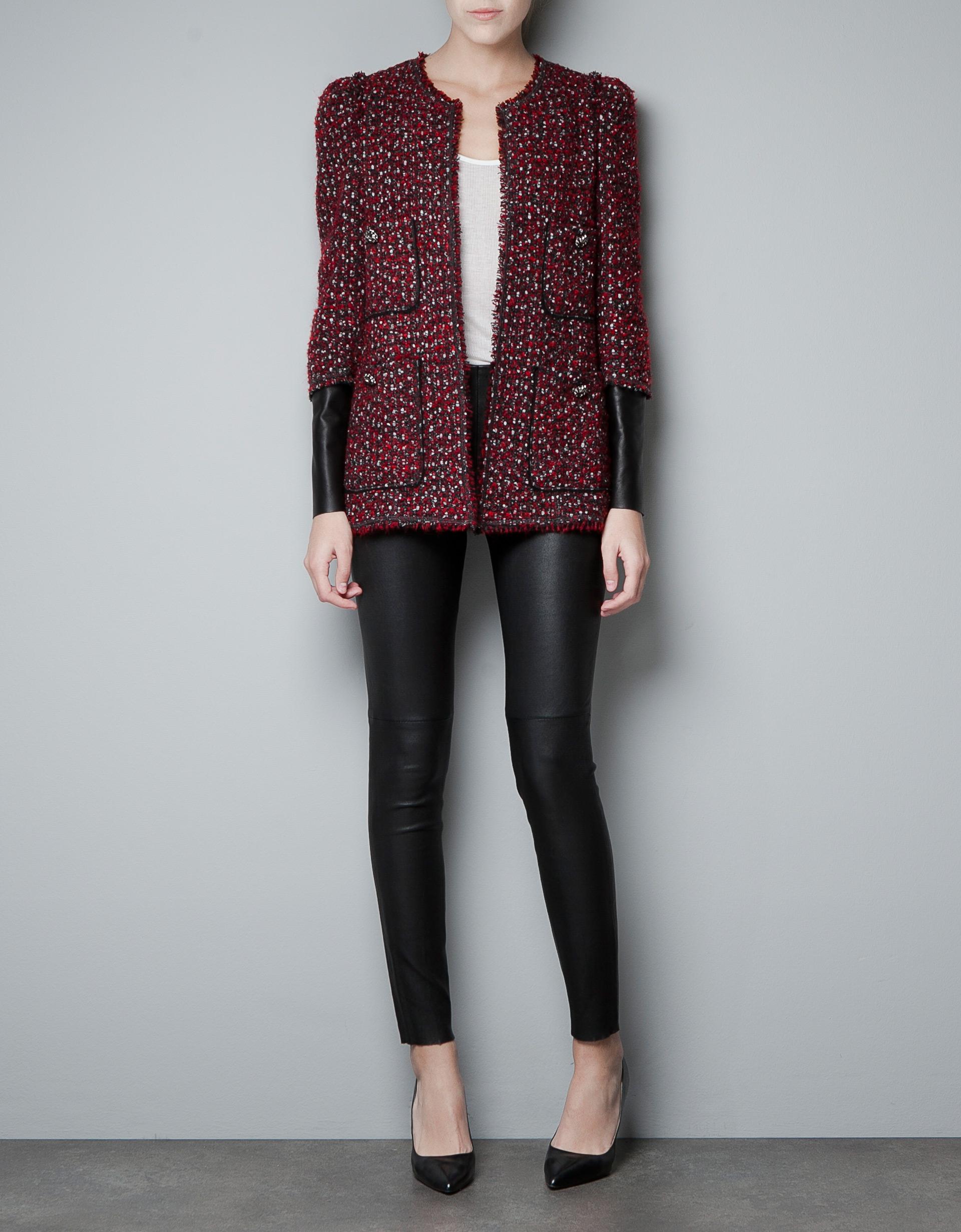 Zara Combined Leather Fantasy Blazer in Red | Lyst