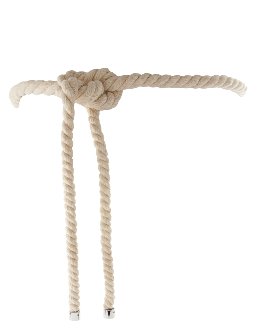 Lyst asos collection asos rope tie belt in natural gallery ccuart Image collections