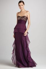 Badgley Mischka Strapless Beaded Gown with Ruffles - Lyst