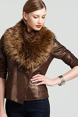 Bagatelle Artica Faux Suede Jacket with Faux Fur Collar - Lyst