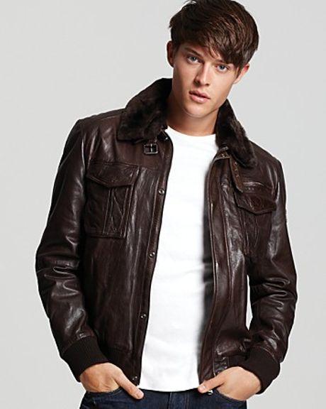 Arrow Mens Black Leather Aviator Jacket 207